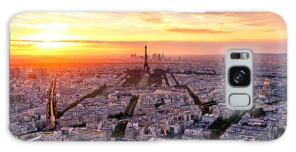 Cloudscape Galaxy Case - Aerial View Of Paris At Sunset by Interpixels