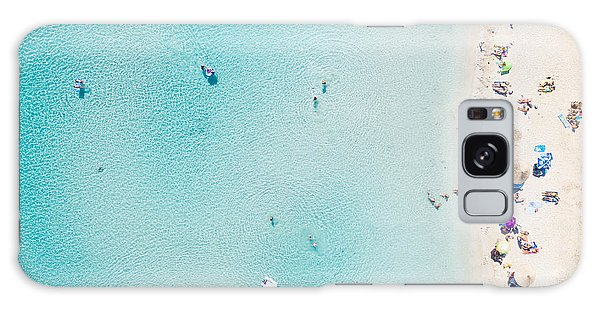 Parasol Galaxy Case - Aerial View Of Sandy Beach With by Paul Prescott