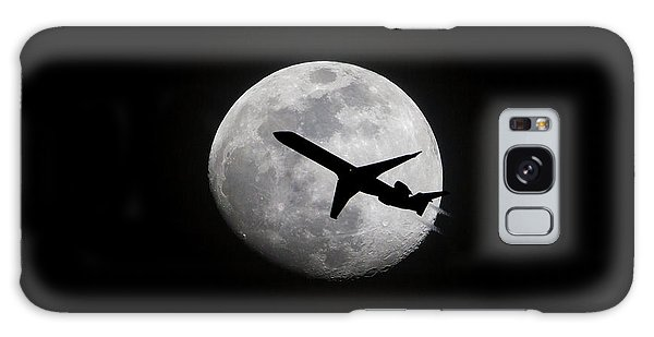 Airliner Passing In Front Of A Full Moon Galaxy Case