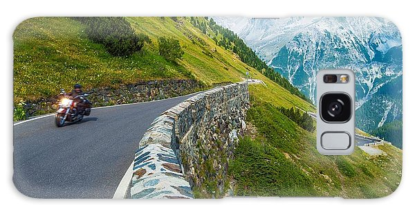 Horizontal Galaxy Case - Alpine Road Biker. Motorcycle On The by Welcomia