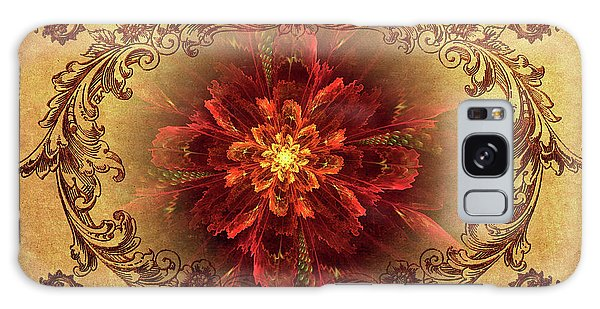 Antique Foral Filigree In Crimson And Gold Galaxy Case