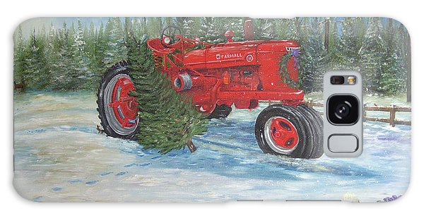 Antique Tractor At The Christmas Tree Farm Galaxy Case
