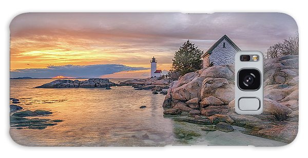 April Sunset At Annisquam Harbor Lighthouse Galaxy Case