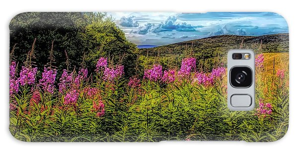 Art Photo Of Vermont Rolling Hills With Pink Flowers In The Fore Galaxy Case