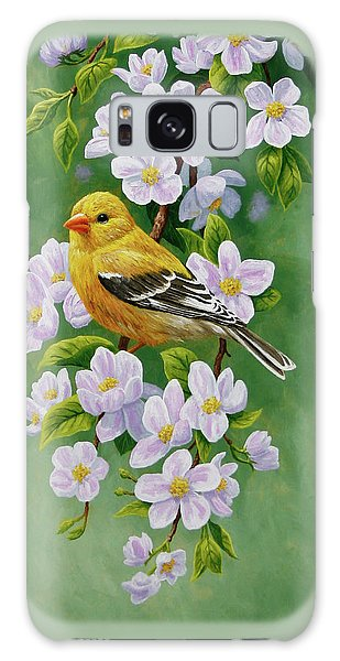 Song Bird Galaxy Case - Female American Goldfinch And Apple Blossoms by Crista Forest