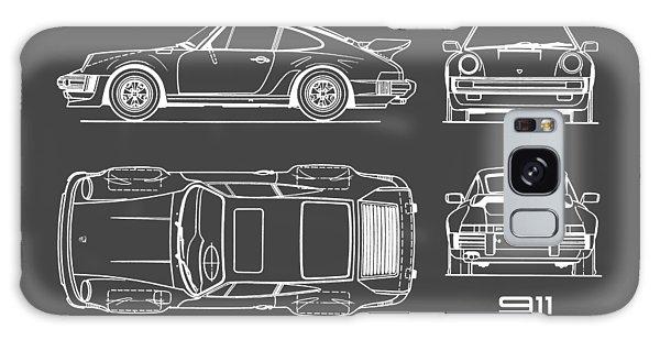 Sports Car Galaxy Case - Porsche 911 Turbo Blueprint - Gray by Mark Rogan