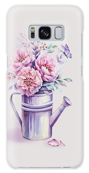 Galaxy Case featuring the painting Pink Peonies Blooming Watercolour by Georgeta Blanaru