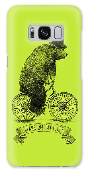 Vintage Galaxy Case - Bears On Bicycles - Lime by Eric Fan