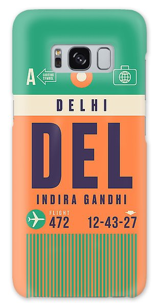 Airport Galaxy Case - Retro Airline Luggage Tag - Del Delhi Airport by Ivan Krpan