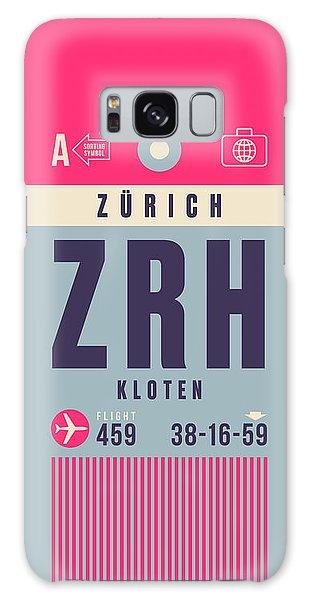 Airport Galaxy Case - Retro Airline Luggage Tag - Zrh Zurich Airport Switzerland by Ivan Krpan