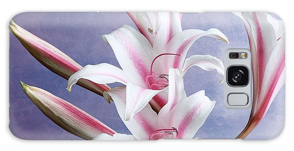 Pink Striped White Lily Flowers Galaxy Case