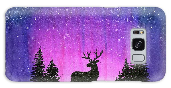 Galaxy Galaxy Case - Winter Forest Galaxy Reindeer by Olga Shvartsur