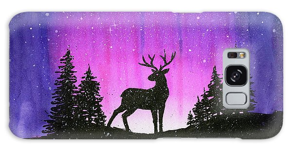Outer Space Galaxy Case - Winter Forest Galaxy Reindeer by Olga Shvartsur