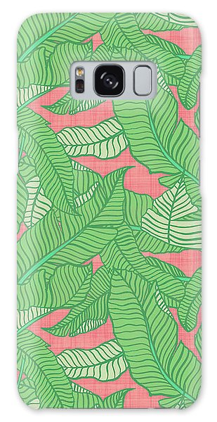 Banana Leaf Pattern Pink Galaxy Case