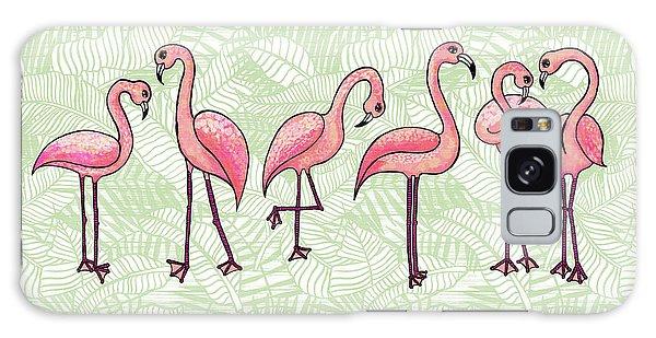 Tropical Flamingos Galaxy Case
