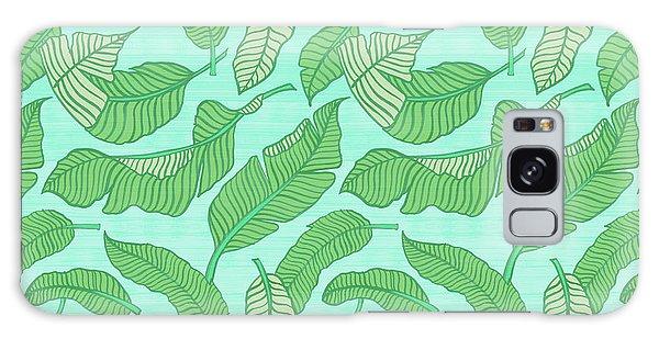 Banana Leaf Pattern Blue Galaxy Case