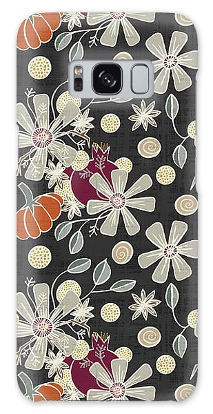 Fall Pumpkin Botanical Pattern Black Background Galaxy Case