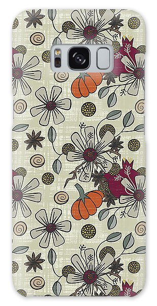 Fall Pumpkin Botanical Pattern Cream Background Galaxy Case