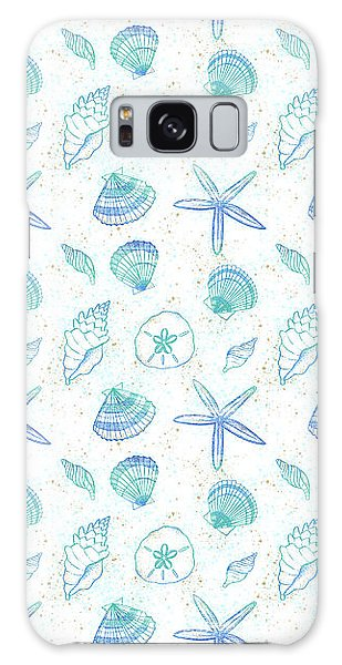 Vibrant Seashell Pattern White Background Galaxy Case