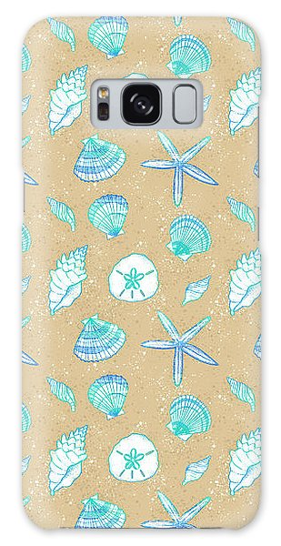 Vibrant Seashell Pattern Tan Sand Background Galaxy Case