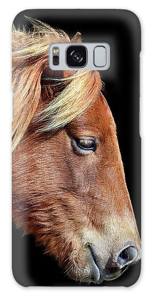 Galaxy Case featuring the photograph Assateague Pony Sarah's Sweet Tea Portrait On Black by Bill Swartwout Fine Art Photography