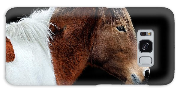 Galaxy Case featuring the photograph Assateague Pony Susi Sole Portrait On Black by Bill Swartwout Fine Art Photography