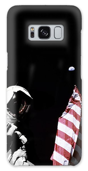 Milky Way Galaxy Case - Astronaut With American Flag On The Moon by Filip Hellman