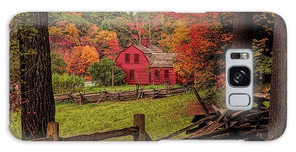 Autumn Fall Colors Over A Red Wooden Home Galaxy Case