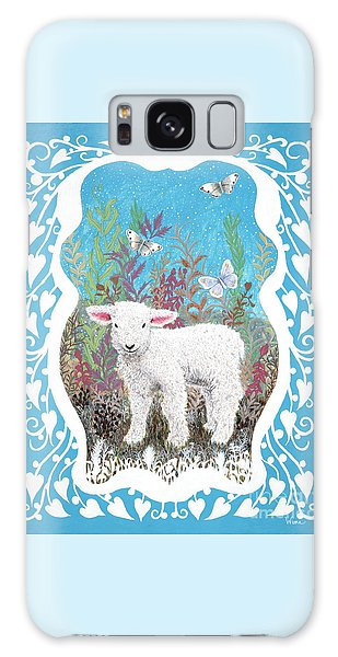 Baby Lamb With White Butterflies Galaxy Case