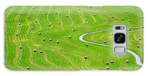 Scenery Galaxy Case - Bales Of Hay On Meadow. Aerial View On by Peteri