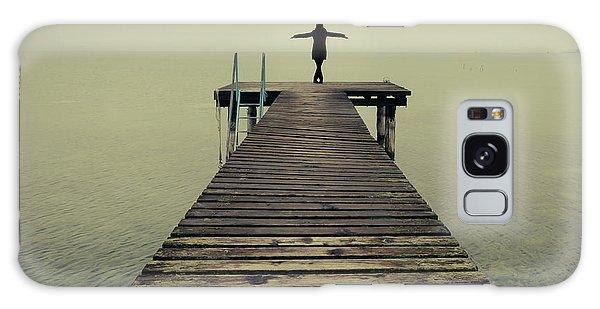 Ballerina Pose At Idyllic Lake At Winter Galaxy Case