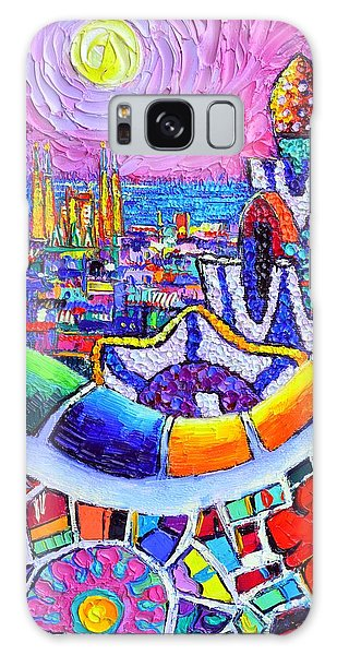 Barcelona Park Guell Colorful Night Textural Impasto Knife Oil Painting Abstract Ana Maria Edulescu Galaxy Case