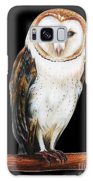 Mottled Galaxy Case - Barn Owl Drawing On Black Background by Viktoriya art