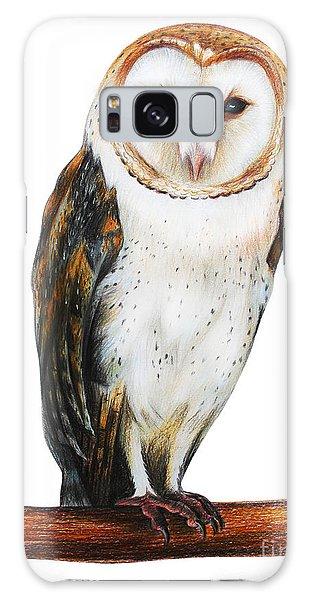 Mottled Galaxy Case - Barn Owl Drawing Tyto Alba by Viktoriya art