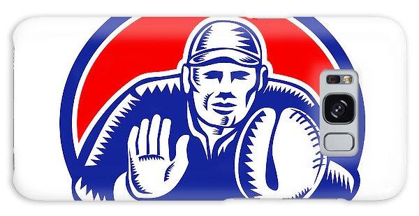 Sportsman Galaxy Case - Baseball Catcher Oval Woodcut by Aloysius Patrimonio