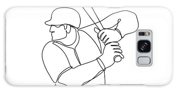 Sportsman Galaxy Case - Baseball Player Batting Continuous Line by Aloysius Patrimonio