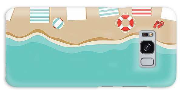 Seashore Galaxy Case - Beach Umbrellas Flat Design Background by Michele Paccione