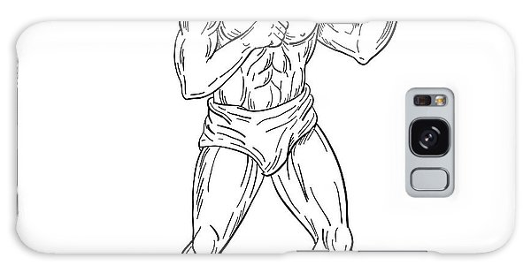 Sportsman Galaxy Case -  Bearded Boxer Fighting Stance Drawing Black And White by Aloysius Patrimonio