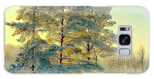 Pine Branch Galaxy Case - Beautiful Landscape With Winter Forest by Deserg