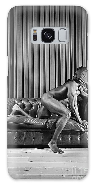 Beautiful Naked Man With Mask Posing On A Sofa Galaxy Case