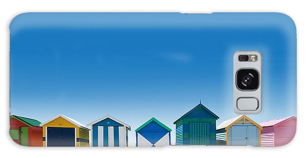 Seashore Galaxy Case - Beautiful Small Bathing Houses On White by Creativa Images