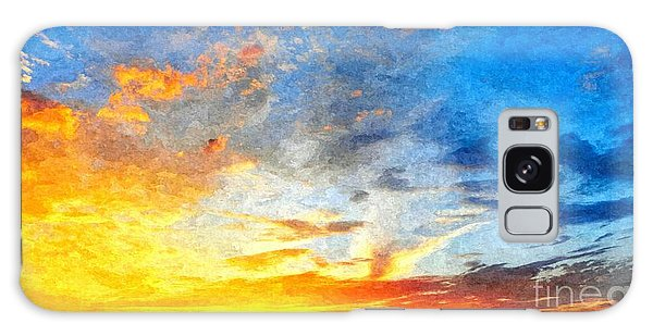 Beautiful Sunset In Landscape In Nature With Warm Sky, Digital A Galaxy Case