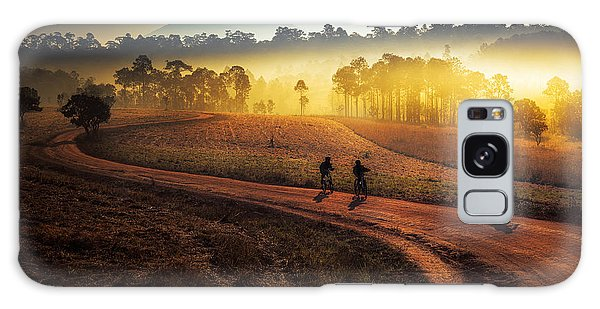 Two People Galaxy Case - Beautiful Sunset Of Travel Place In by Travel Mania