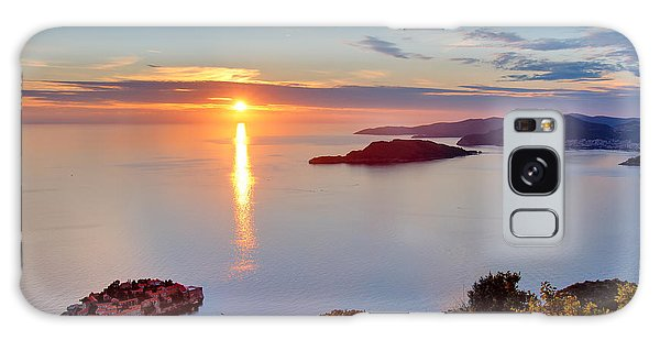 Seashore Galaxy Case - Beautiful Sunset Over Montenegro by Liseykina