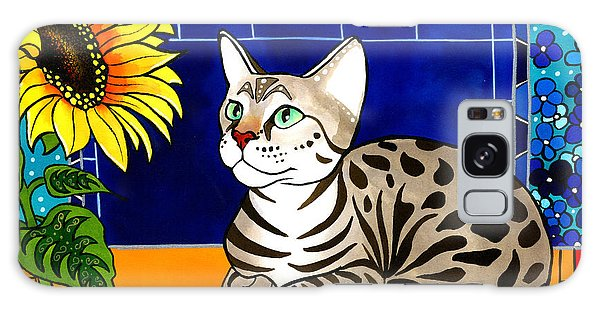 Beauty In Bloom - Savannah Cat Painting Galaxy Case