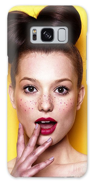 Sly Galaxy Case - Beauty Surprised Teenager Model Girl by Lenaer