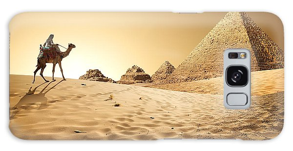 Travel Destinations Galaxy Case - Bedouin On Camel Near Pyramids In Desert by Givaga