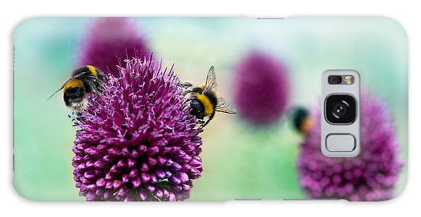 Horizontal Galaxy Case - Bees On Allium Sphaerocephalon.  Allium by Onelia Pena