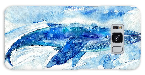 Sea Lily Galaxy Case - Big Blue Whale And Water.watercolor by Jula lily