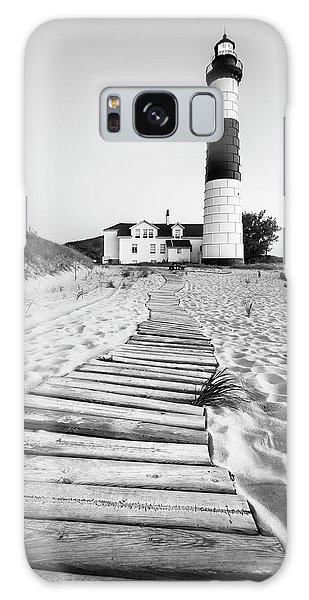 Board Walk Galaxy Case - Big Sable Point Lighthouse Black And White by Adam Romanowicz